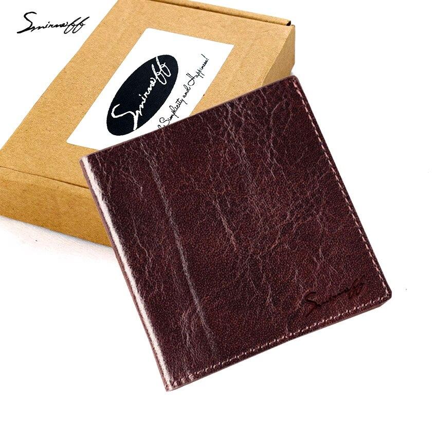 SMIRNOFF Super Thin Wallet Male 2017 New Short Paragraph Genuine Leather Hand Made Vintage Men Mini