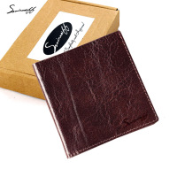 SMIRNOFF Super Thin Wallet Male 2017 New Short Paragraph Genuine Leather Hand Made Vintage Men Mini
