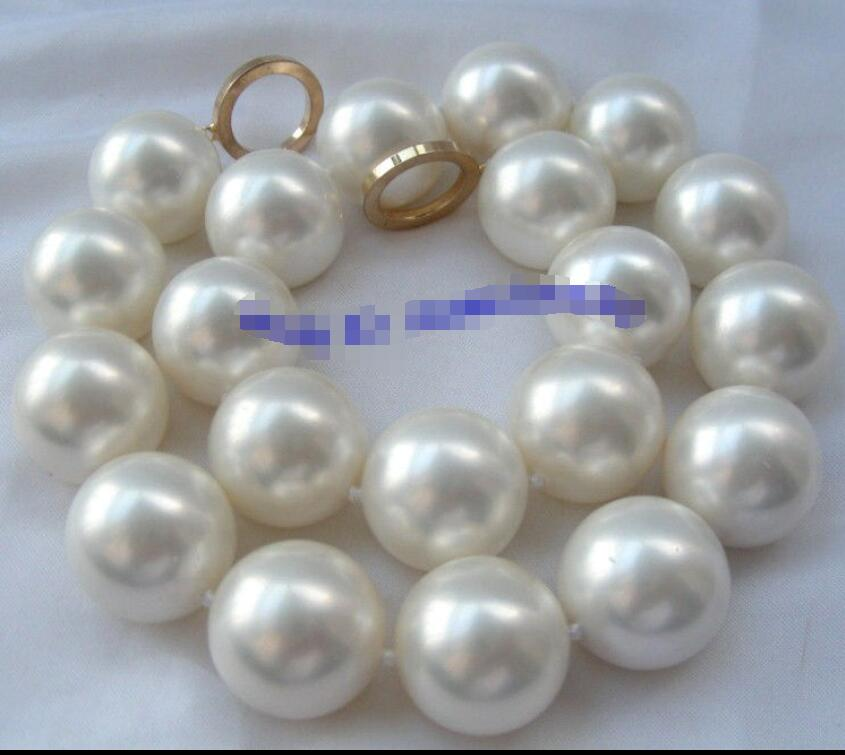 Superbe grand collier de perles de 20mm rondes en coquillage de mer du sud