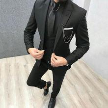Последнее дизайнерское пальто брюки черные мужские костюмы Блейзер