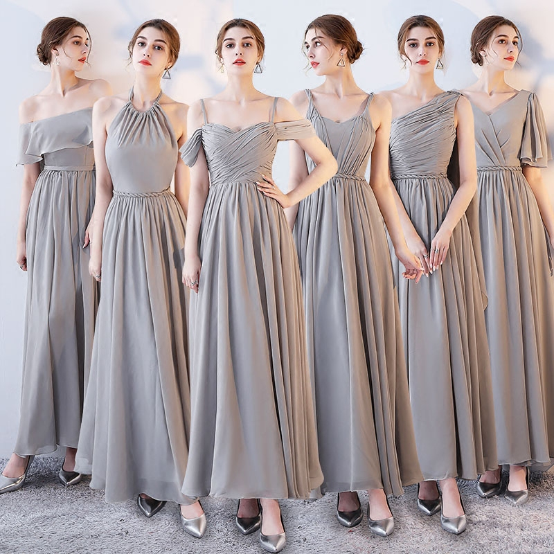 Socci Weekend Long Bridesmaid Dresses 2017 Sliver Sleeveless Sister Dress Grey Off Shoulder Formal Wedding Party Gowns Robe De In From