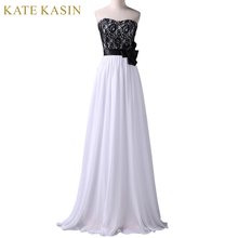 Long Evening Dresses Black Lace White Chiffon Gown Elegant Formal Dress 2017 Women Cheap Party Dresses Evening Gowns 6203