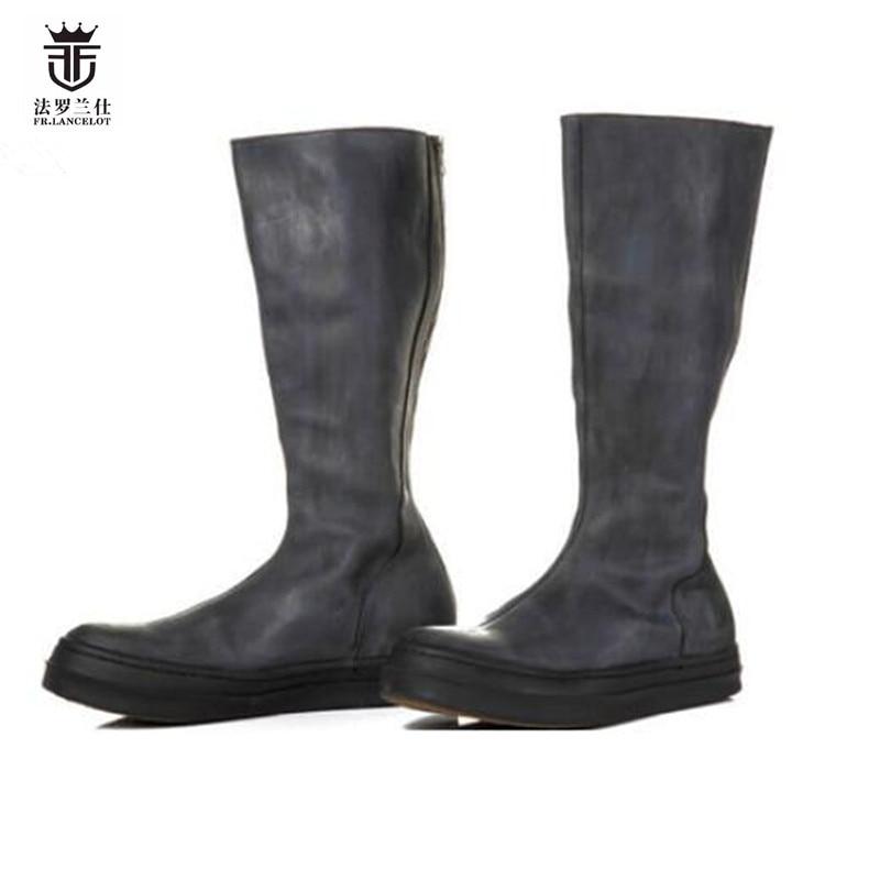 2018 fr. ланселот Новое поступление европейский стиль Мартин ботинки с высоким голенищем с острым носком модная мужская обувь из коровьей кожи