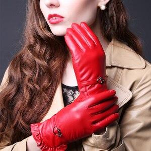 Image 5 - Женские кожаные перчатки TBWA593, толстые теплые перчатки из 100% овечьей кожи для вождения и верховой езды, Осень зима 2019
