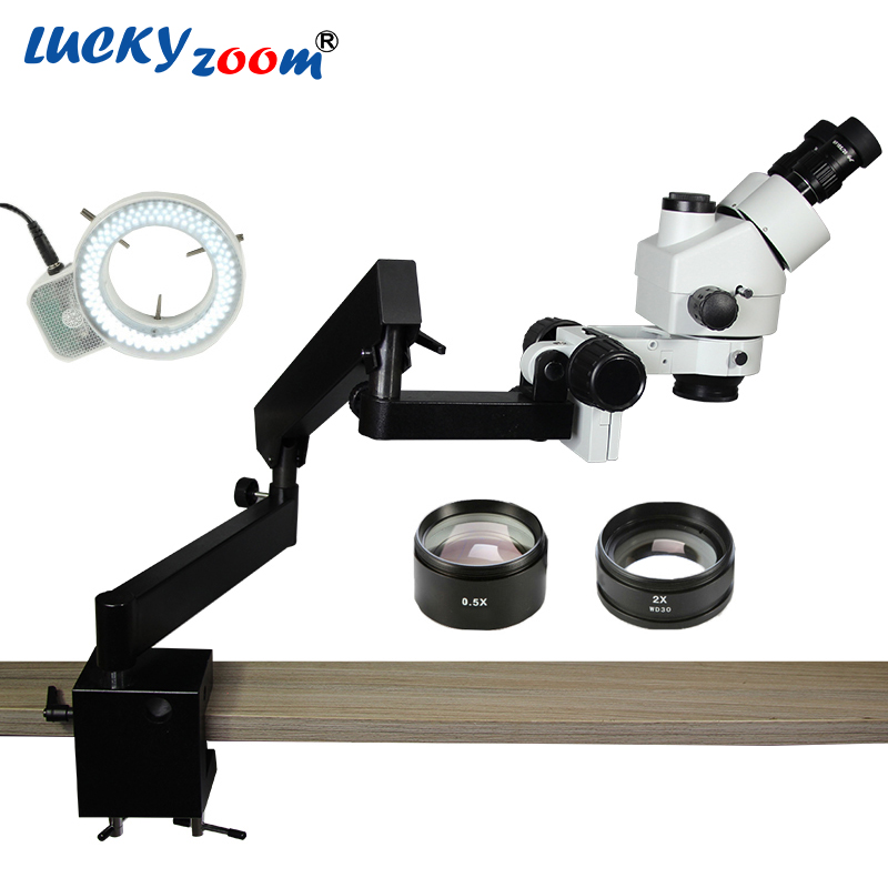 Luckyzoom Brand 3.5X-90X STEREO ZOOM Trinocular MICROSCOPE ARTICULATING STAND with CLAMP 144 LED Ring Illumination Light цена