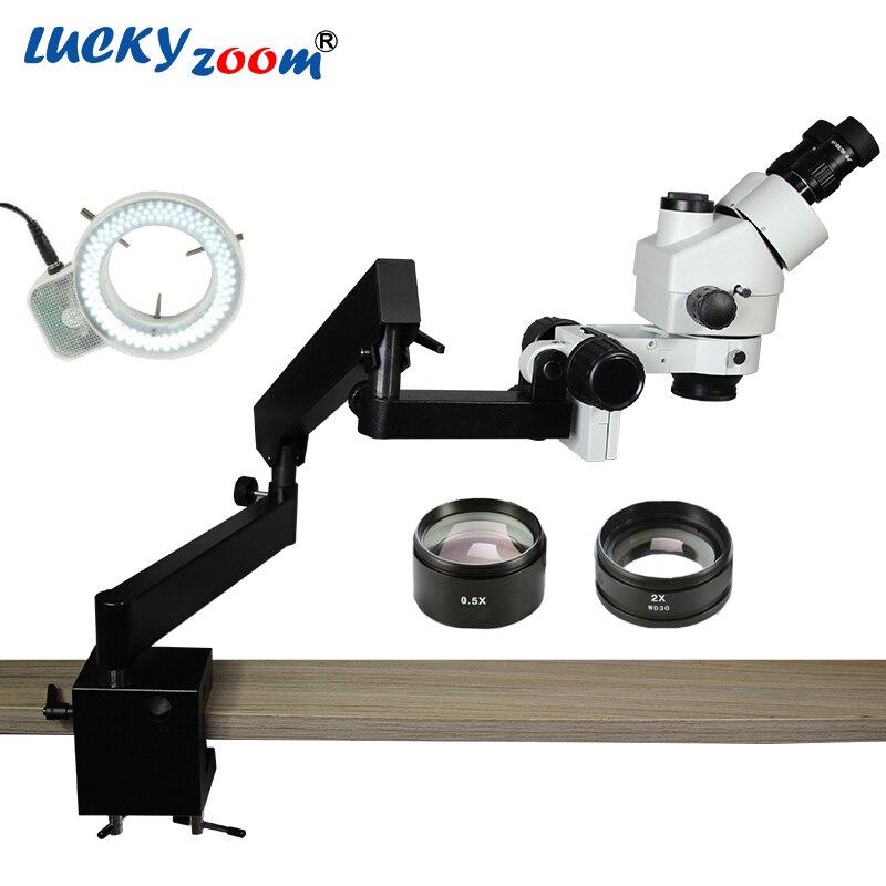 Sorte Marca Zoom 3.5X-90X STEREO ZOOM MICROSCÓPIO + ARTICULAÇÃO STAND com BRAÇADEIRA + 144 Iluminação LED Anel de Luz