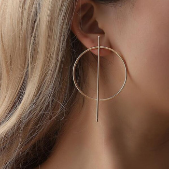 Big Hoop Round Circle Golden Silver Color Earrings
