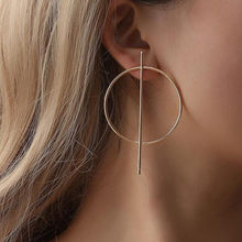 New Fashion Big Hoop Earrings For Women Round Circle Golden Silver Color Earrings Punk Statement Geomeric Earrings For Brinco(China)