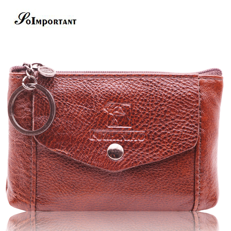 Vintage Genuine Leather Mini Slim Men Wallets Coin Purse Male Small Short Magic Walet Money Bags Portomonee With Key Ring