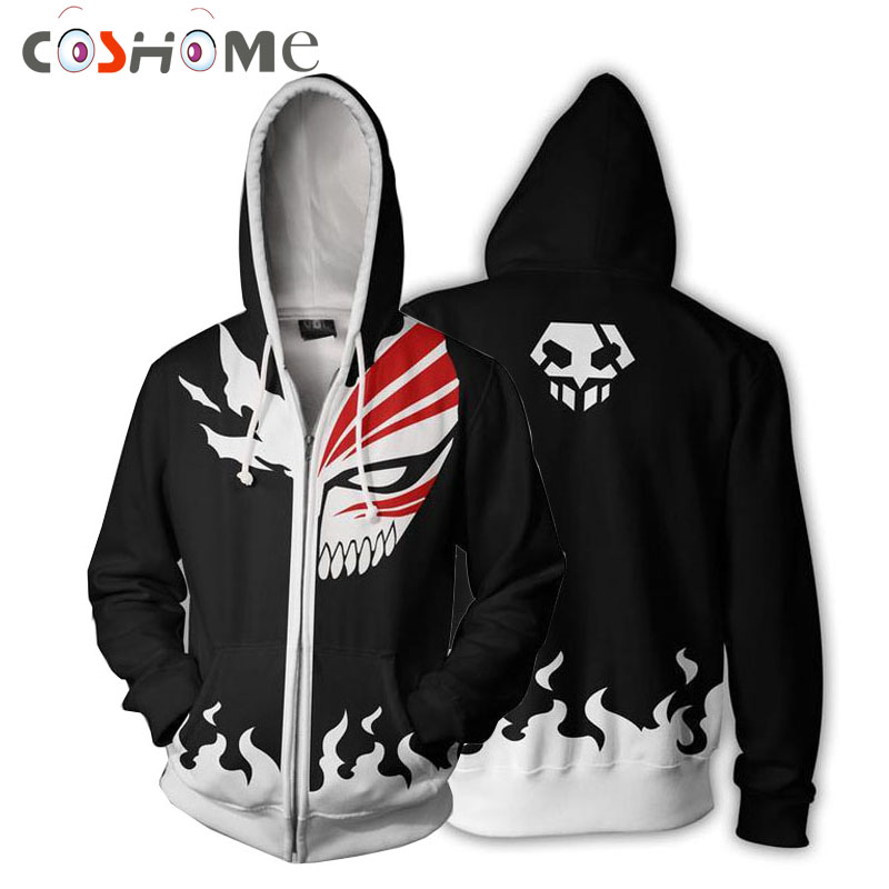 Coshome Anime Bleach Ichigo Kurosaki Cosplay Costumes Men Women Hoodie Spring Jacket Coat Top
