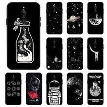 3D DIY Painted Black Case For Meizu 15 Lite M6T M5S M6 Cases Astronaut Space Moon Phone for Pro 7 Plus V8 Bumper
