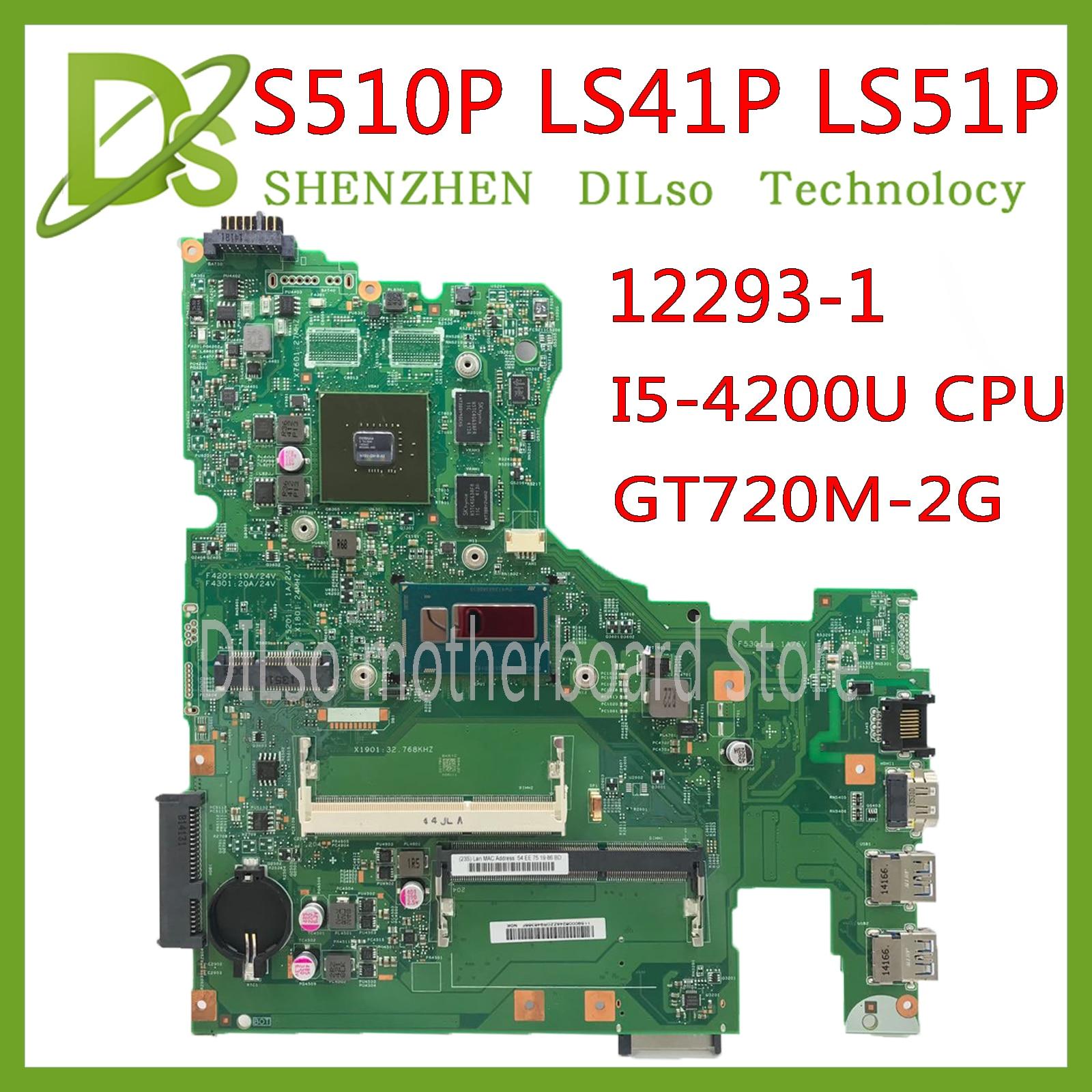 KEFU 12293-1 48.4L106.011 Motherboard For Lenovo S510P LS41P LS51P Motherboard I5-4200U CPU GT720M-2G Original Work Tested