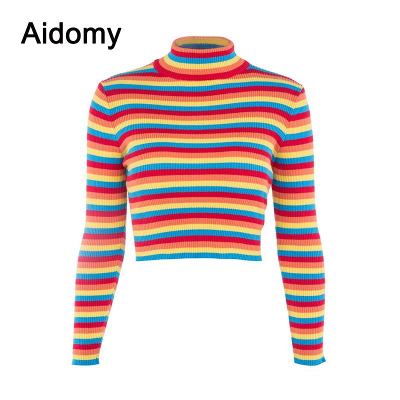 0a137e2993 Turtleneck Rainbow Sweater Women Pullover Knitted Crop Tops Autumn Jumper  Slim Striped Shirt Long Sleeve Ribbed Sweaters Female-in Pullovers from  Women s ...