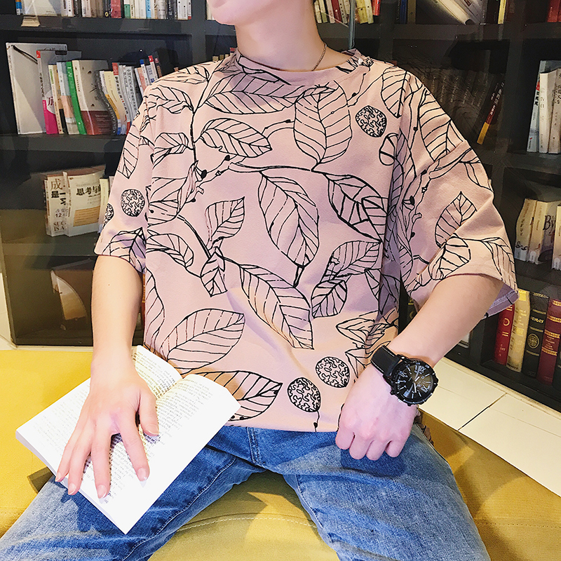Leaf Printing Short Sleeve T Pity The Wind In Hong Shopkeeper Original Old Leisure Time Japanese Male Favourite Free shipping