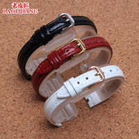 Duty quality genuine Leather Watchband for lady tissot T084.210 leather watch band 12mm X 3mm cove black and white red light