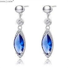 2017 Новая Мода Ювелирные Изделия Синий Кварцевый камень 925 Чистого Серебра Мотаться Серьги для необычные женщины E0440