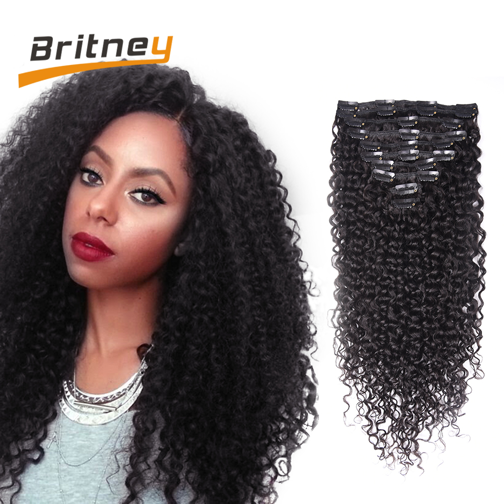 Brazilian Kinky Curly Virgin Hair Clip In Human Hair Extensions Afro
