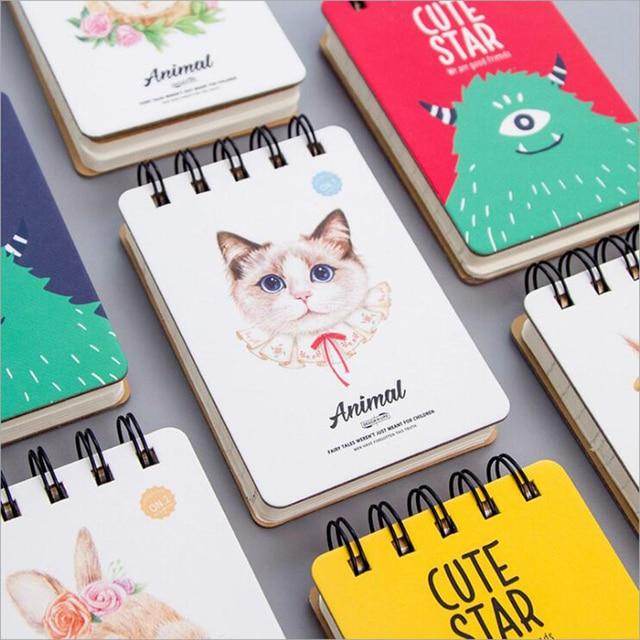 cartoon cute coil daily memos notebook 110 sheets portable mini