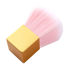 1 Pc Nail Dust Cleaning Brush Soft Pink Fiber Hair Power Brushes Makeup Foundation Blush Beauty Tool