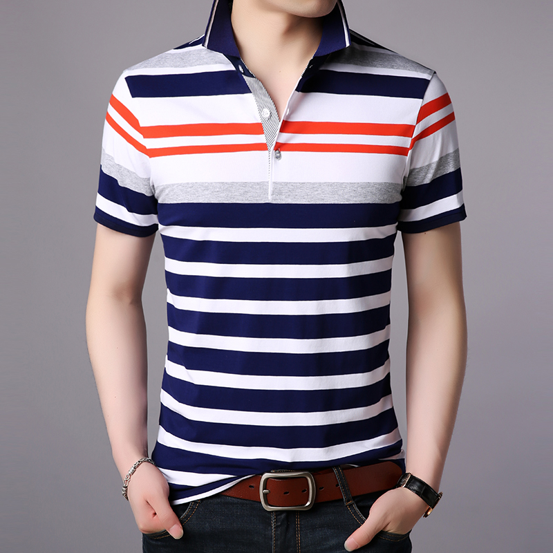 2019 New Fashion Brand Designer   Polo   Shirt Men's Top Grade Summer Short Sleeve Slim Fit Striped Poloshirt Casual Mens Clothing