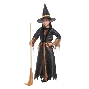 Black Gold Cobweb Witch Halloween Costume