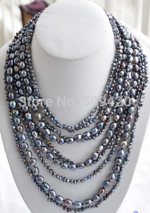 """W&O656 >>P4505 9row 17~27"""" 10mm peacock black baroque freshwater cultured pearl necklace"""