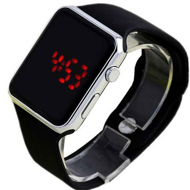 f9b58452317 Red light Espelho Quadrado Rosto Banda de Silicone Relógio Digital LED  Relógios De Metal quadro Esporte