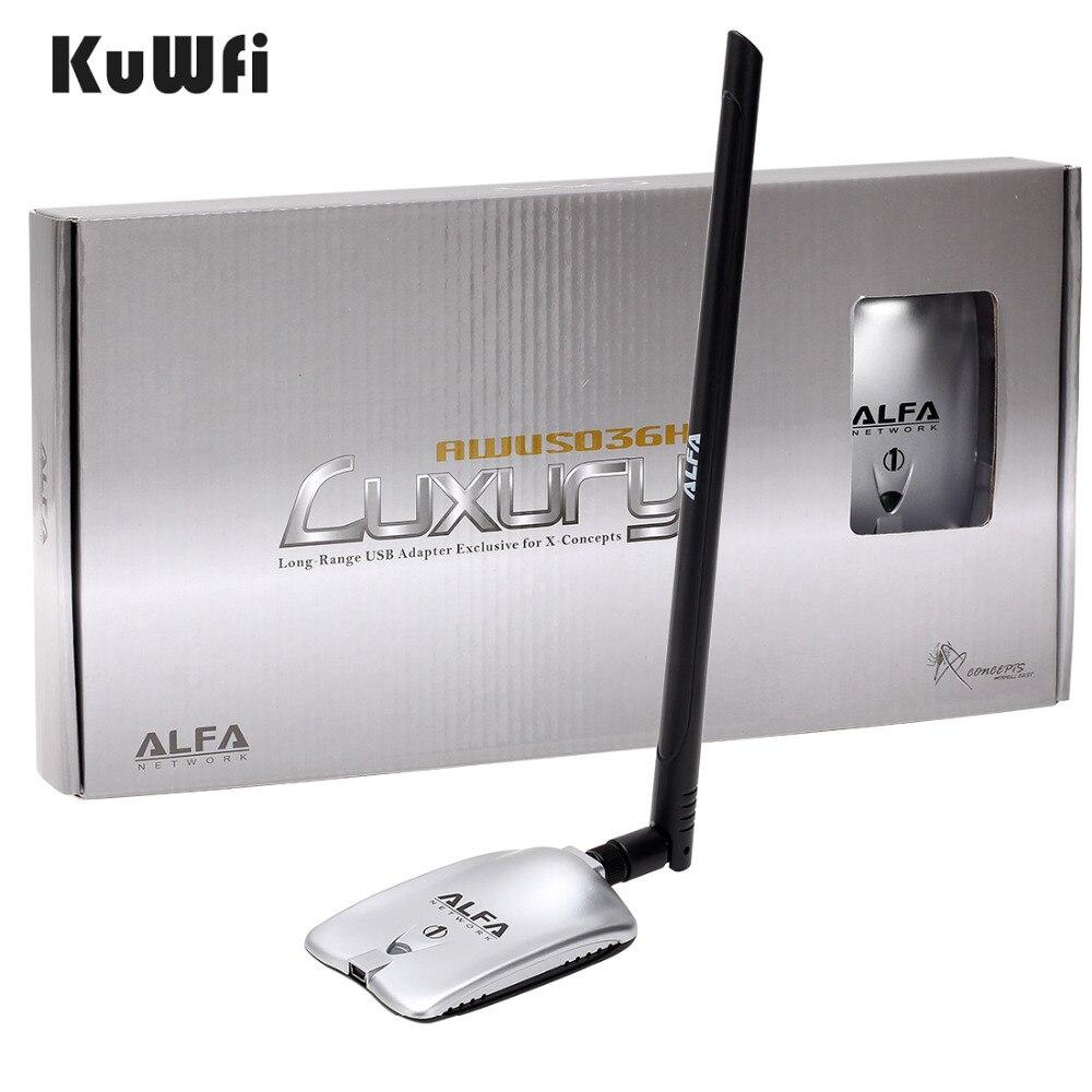 AWUS036NH DE LUXE ALFA Adaptateur Réseau Ralink3070L 2.4 Ghz Haute Puissance Sans Fil USB Wifi Adaptateur 2 * 8dBi Antenne Avec Long gamme