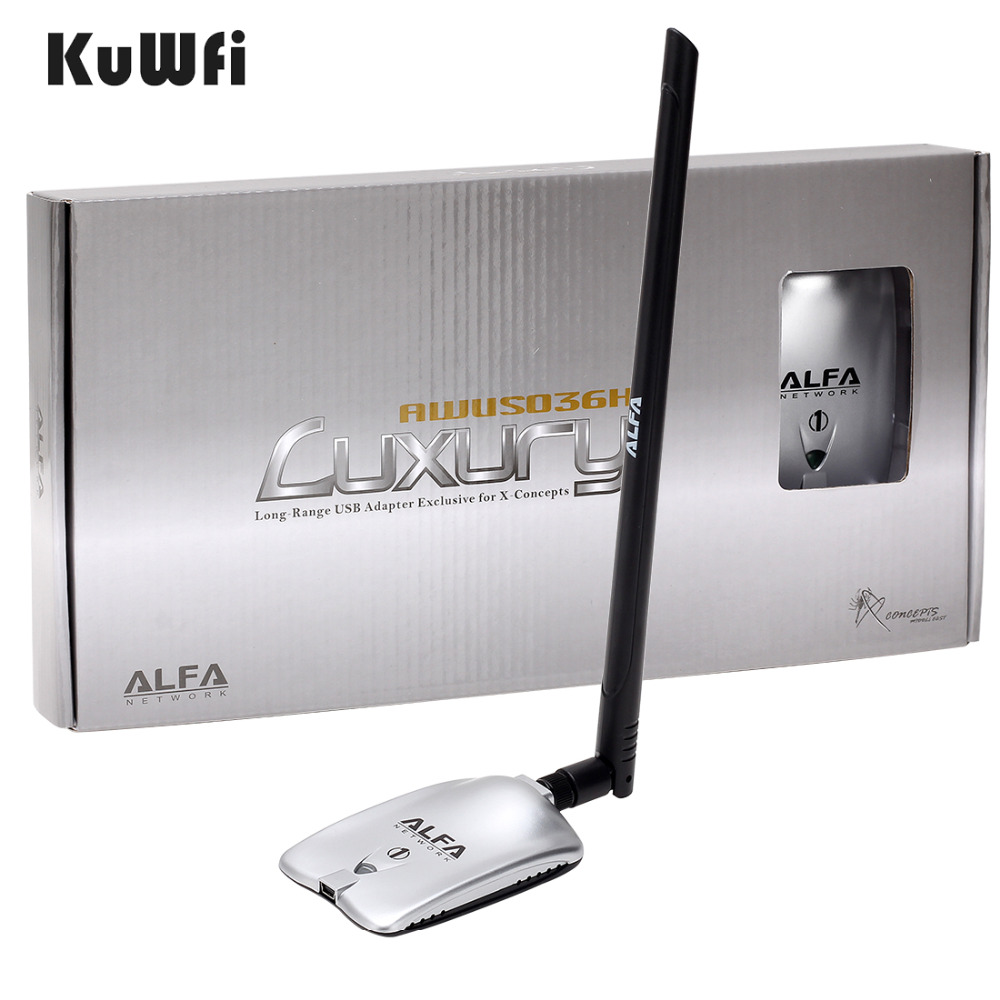 AWUS036NH lujo ALFA de red de adaptador Ralink3070L 2,4 GHz inalámbrico de alta potencia adaptador Wifi USB 2 * 8dBi con antena de largo alcance