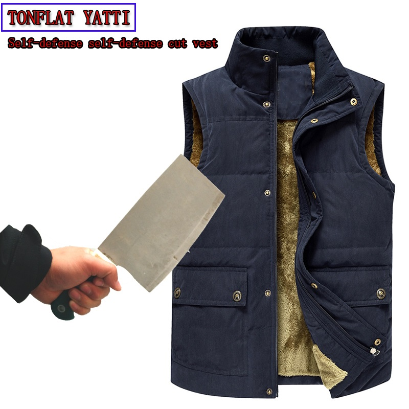 2020 Winter Men Plus Velve Anti-cut Bayonet Tactics Vest Self-defense Self-protection Warmth Security Stand-Collar Fashion VEST