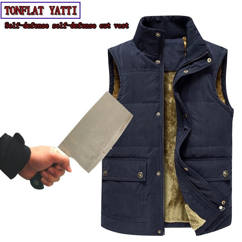 2020 Winter Men Plus Velve Anti-cut Bayonet Tactics Vest Self-defense Self-protection Warmth Security Stand-Collar Fashion VEST