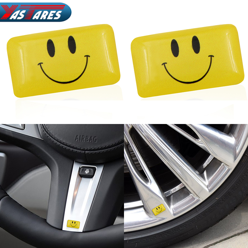 2pcs/lot Car Styling Small Decorative Badge Steering Wheel Case Smiled For M E34 E36 E60 E90 E46 BMW E39 X3 Car Emblem Sticker image