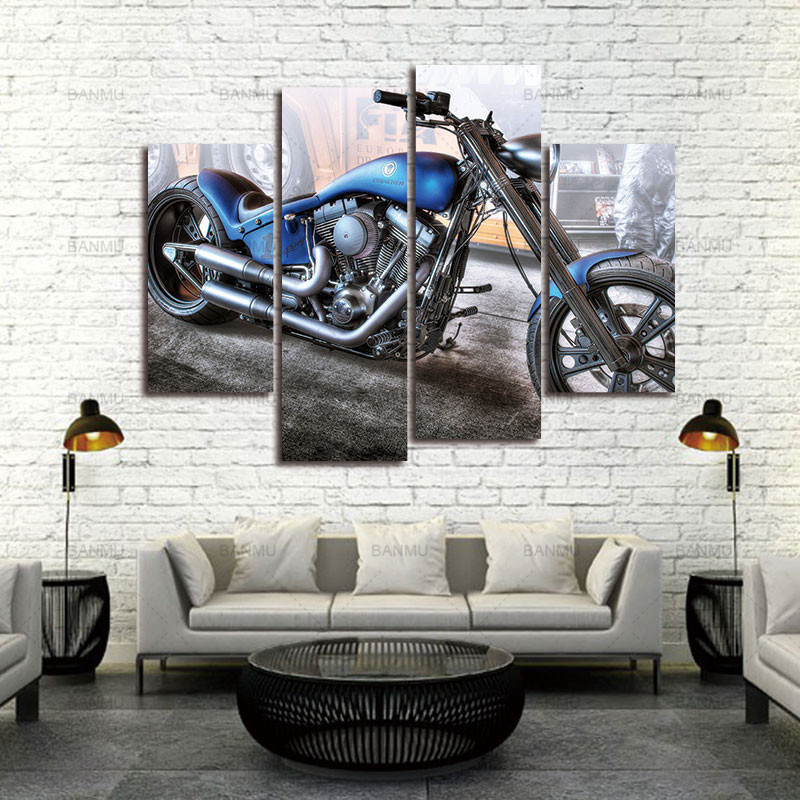 Kanvas Lukisan Dinding Dekorasi Karya Seni 4 Panel Kanvas Foto - Dekorasi rumah - Foto 1
