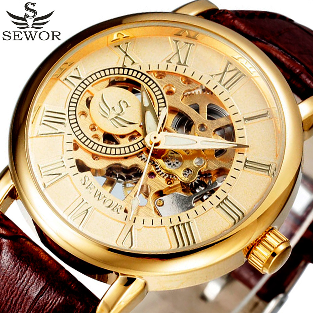 SEWOR Designer Gold Skeleton Mechanical Watch Men Leather Luxury Men Watches Business Clock Montre Homme Relogio Masculino стоимость