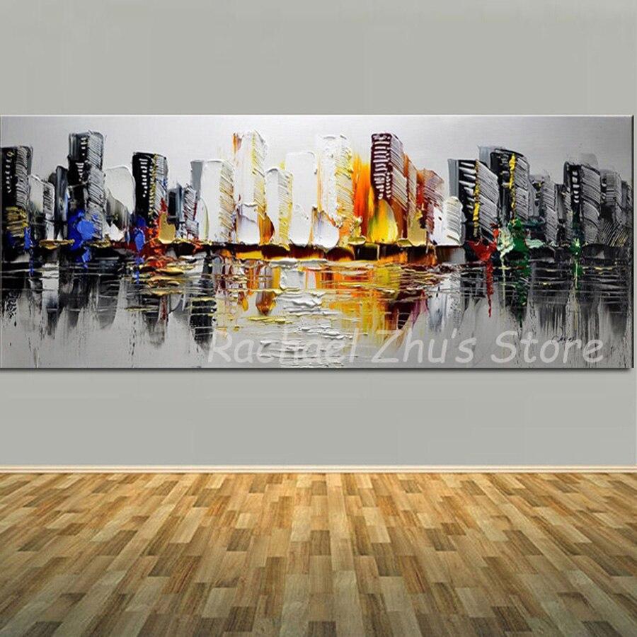100 Pintado A Mano Abstracto Edificio Pintura Al óleo En Lienzo Moderno Color Arte Paleta Cuchillo Sala De Estar Decoración De La Pared Del Hogar
