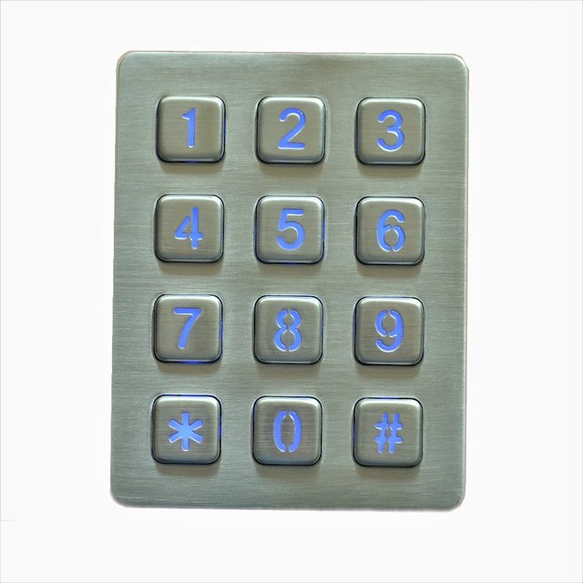 Rugged vandal proof illuminated 12 keys metal numeric keyboard Stainless steel keypad with leds for access control system, kiosk 1