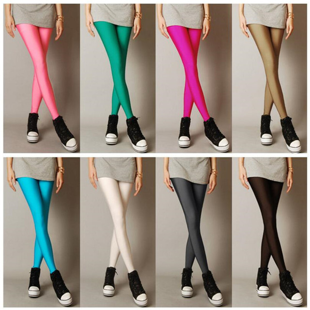 New Spring Solid Candy Neon Leggings for Women High Stretched Female Legging Pants Girl Clothing Leggins Plug Size 2
