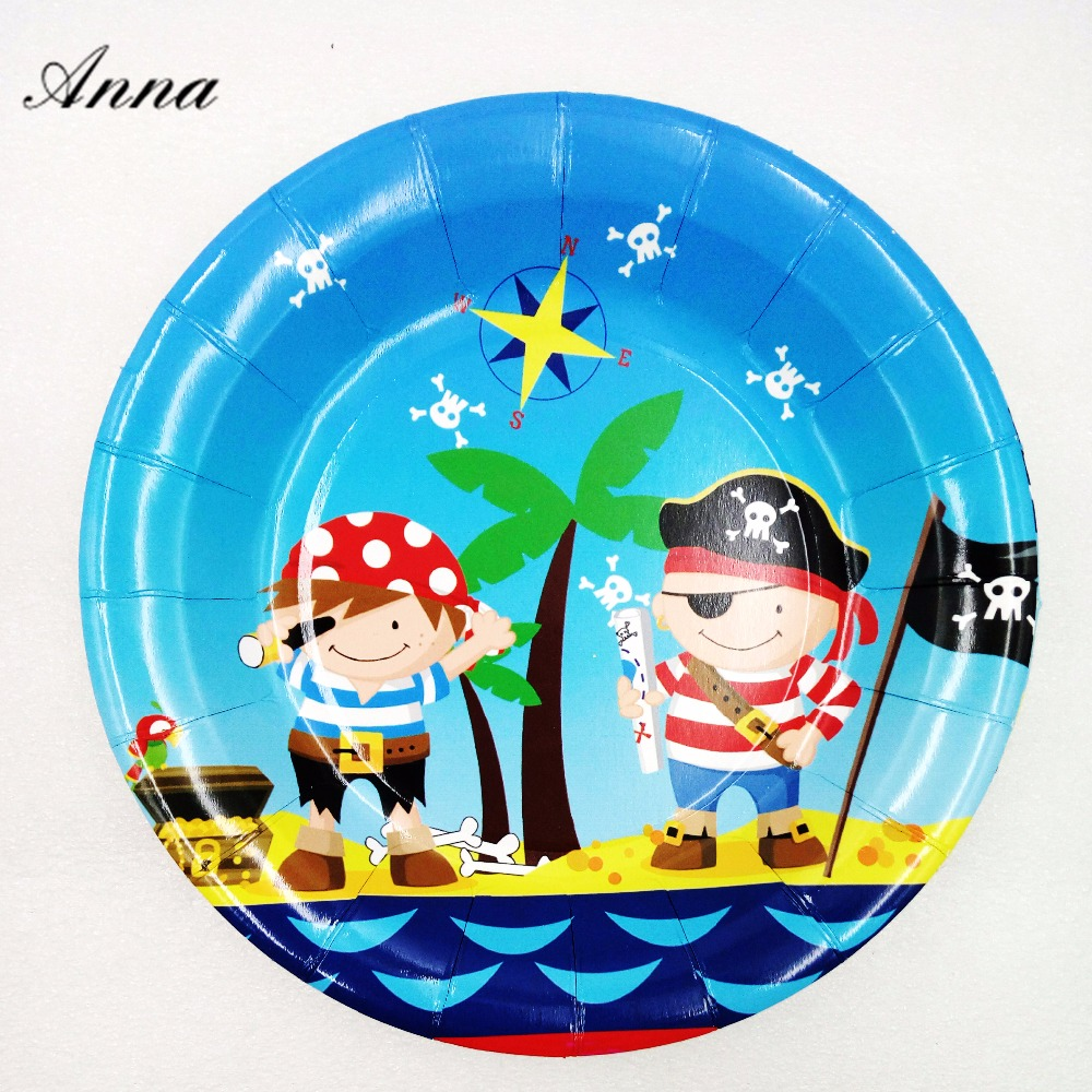 6pcs /bag Pirate 7inch Party Supplies Paper Plate Cake Dishes Kids Birthday Baby Shower Favor Decoration Plates