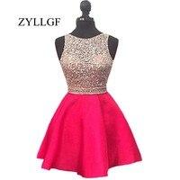 ZYLLGF блестящие короткие выпускников платье 2018 Милые ярко розовый топ Кристалл бисера спинки нарядные платья для свадьбы RS8
