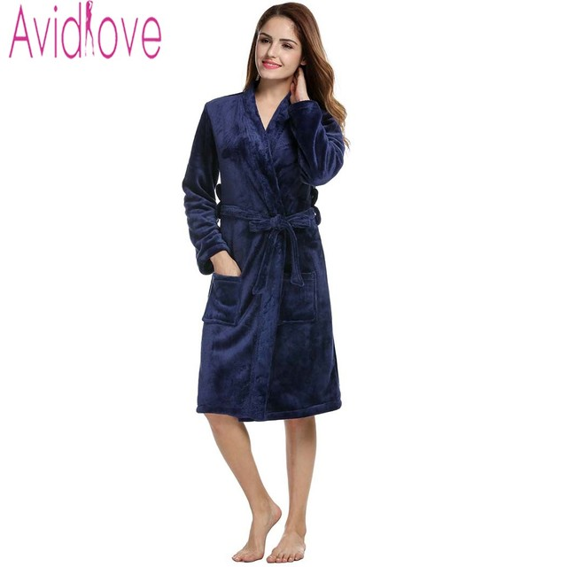 7a52653189 Avidlove Brand Robe Women Soft Fleece Robe Sexy V-Neck Long Sleeve Sleepwear  Nightgown Casual
