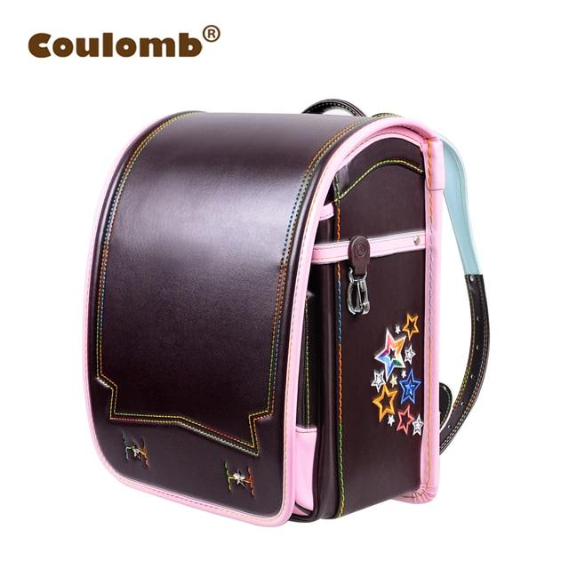 Coulomb Princess Star Backpack For Girl School Bag Orthopedic Randoseru Japanese PU Hasp Waterproof Baby Book