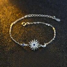 Ruifan Star Moon Blue Cubic Zircon Slim Link Chian Bracelet for Women 925 Sterling Silver Bracelets Ladies Fine Jewelry YBR030