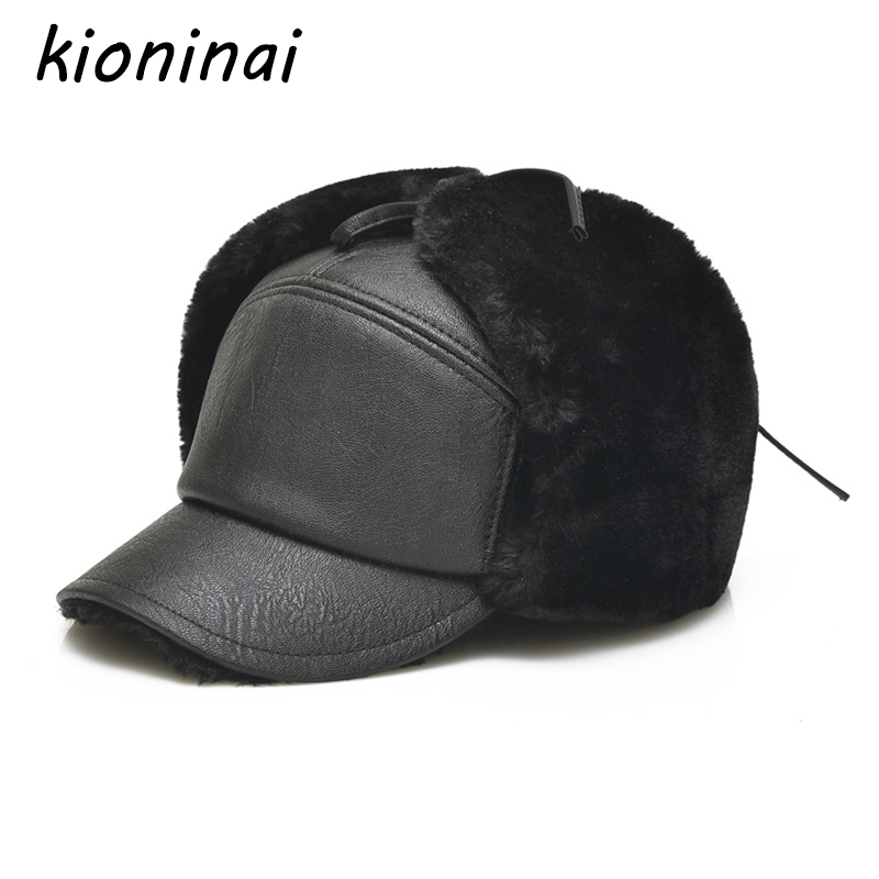 Kioninai 2017 Winter Hats Snapback Cap Men Warm PU Leather Dad Hat Fur Bomber Hats Men With Earflaps Outdoor Gorras Casquette ht647 warm winter leather fur baseball cap ear protect snapback hat for women high quality winter hats for men solid russian hat