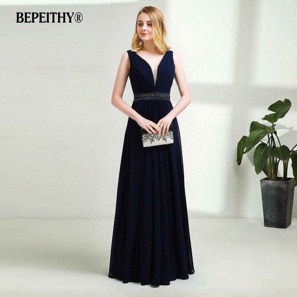 Sexy Backless Navy Blue Chiffon Long Evening Dress Crystal Belt Vestido De Festa Elegant Prom Dresses