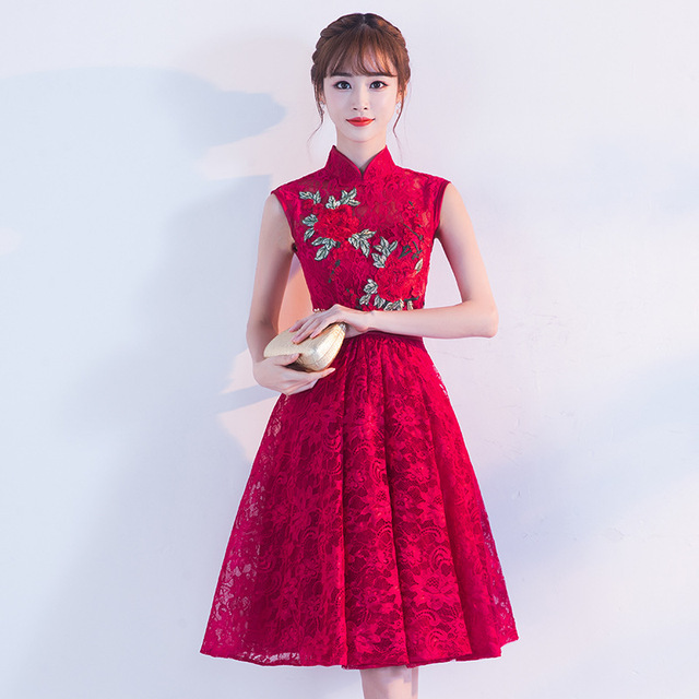 US $49.32 26% OFF|Traditional Chinese Dress Qipao Red Wine Party Dresses  Bride 2017 Fashion Plus Size Cheongsam Embroidery Oriental Wedding Gowns-in  ...