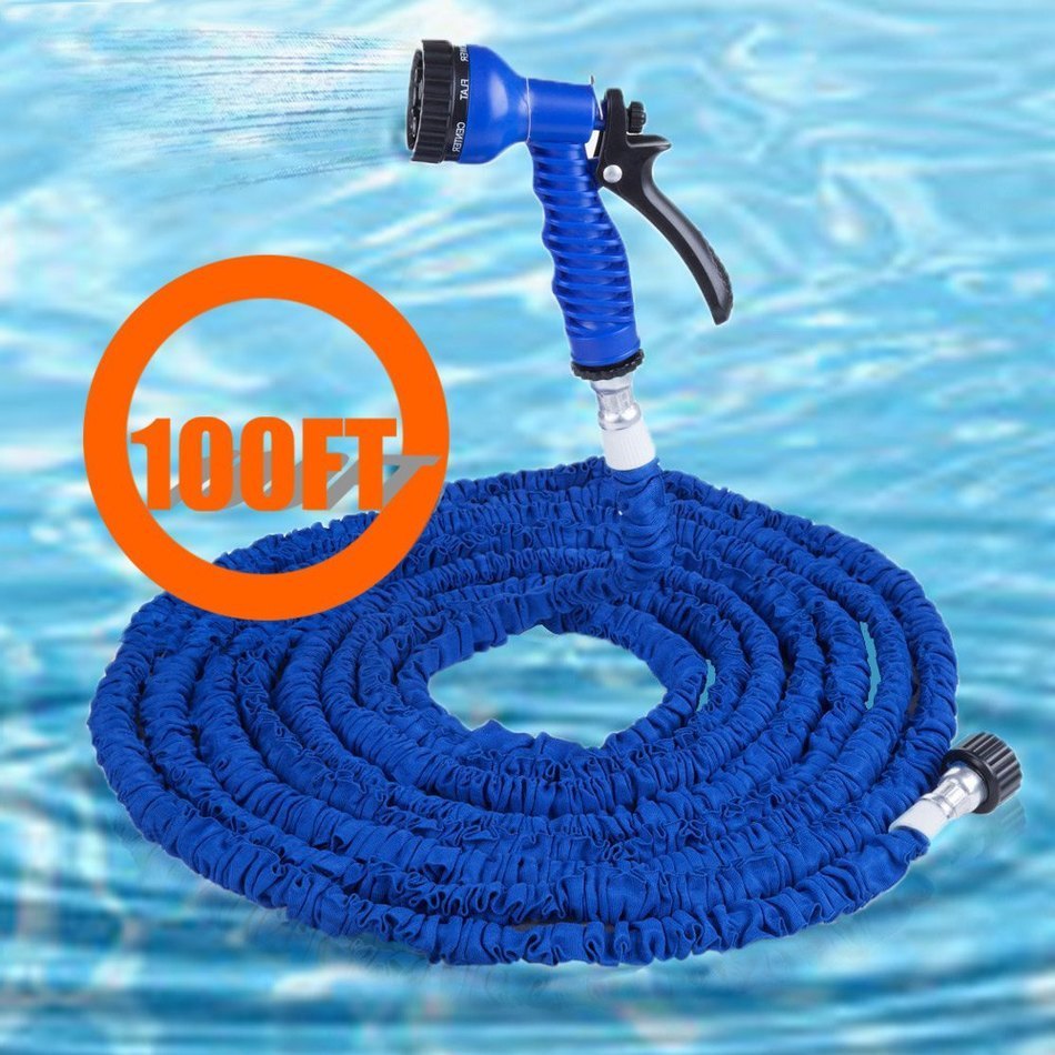 2016 Hot 100FT Expandable Blue Garden Hose Pipe Garden Water Hose