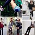 18 Colores Otoño Invierno Mujeres Calcetines Hasta La Rodilla Moda Casual Sexy Medias hasta el Muslo para Señoras de Las Muchachas 2017 de Rayas Larga Caliente calcetines