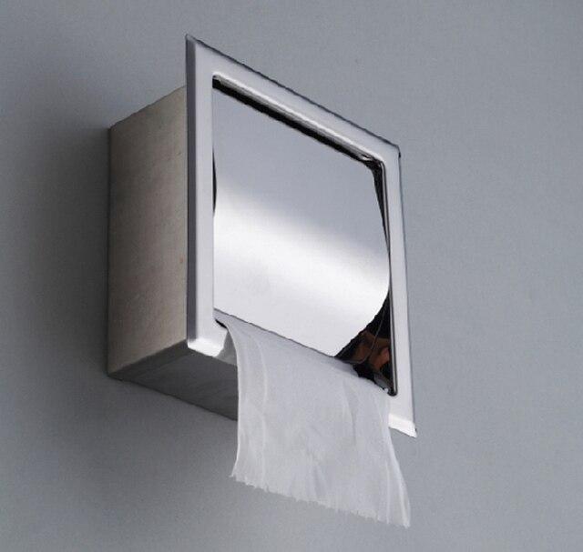 304 Stainless Steel Concealed Bathroom Waterproof Tissue Box Toilet Paper Holders Sanitary Ware Banheiro Hardware Accessories