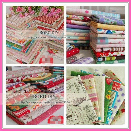 free shipping 20pcs no repeat design,25cm*27cm floral linen/cotton fabric bundles for patchwork diy crafts projects B201350