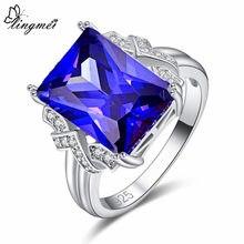 Lingmei novo retângulo corte azul & verde branco zircônia cúbica prata colorring sz 6-9 clássico belo casamento jóias